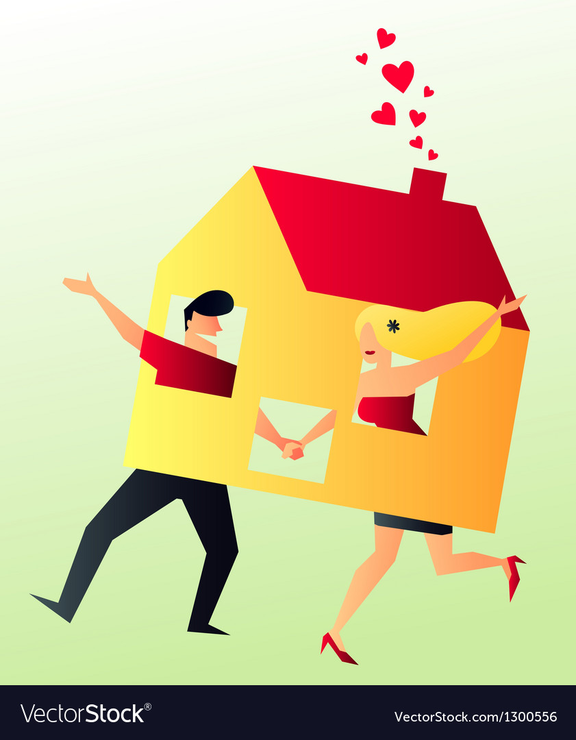 Cohabit young couple sharing their new home vector