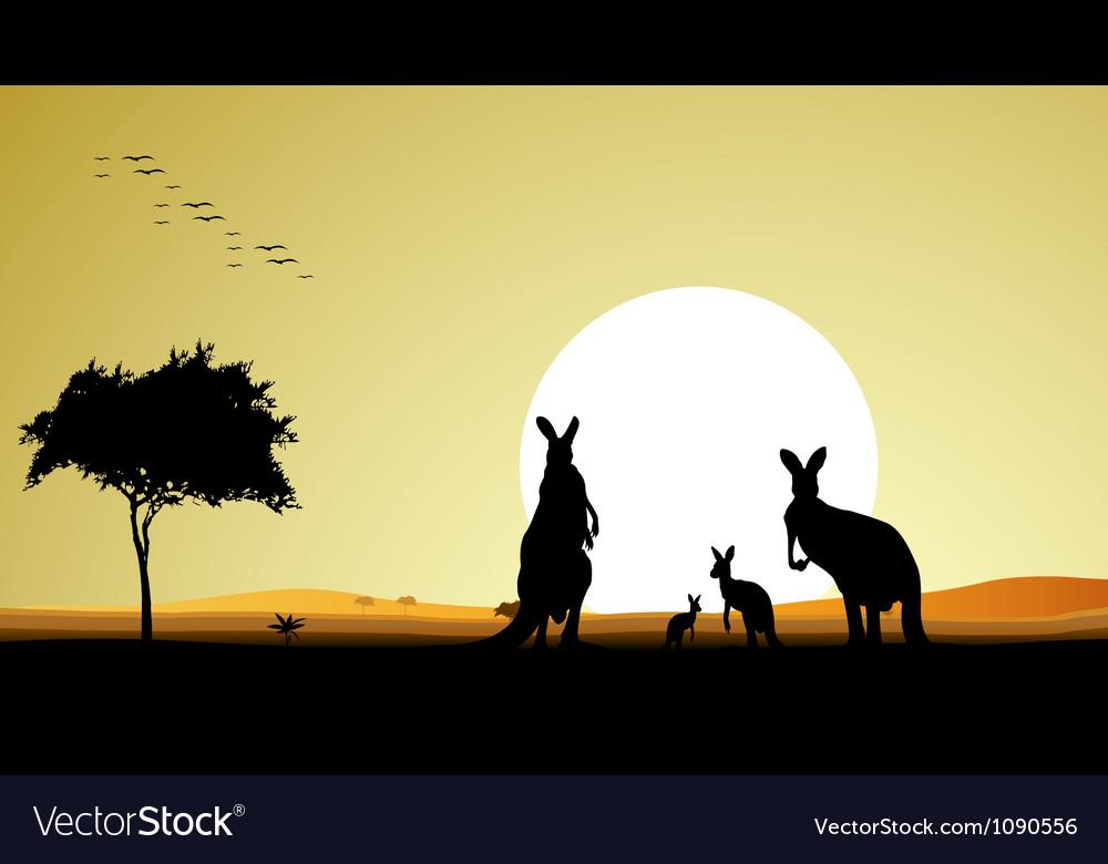 Kangaroo family silhouette vector