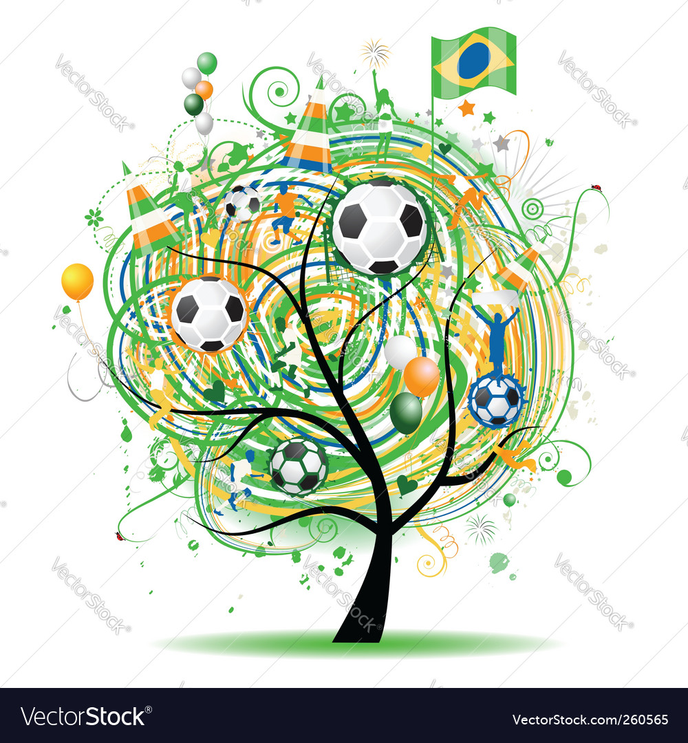 Football tree design brazilian flag vector