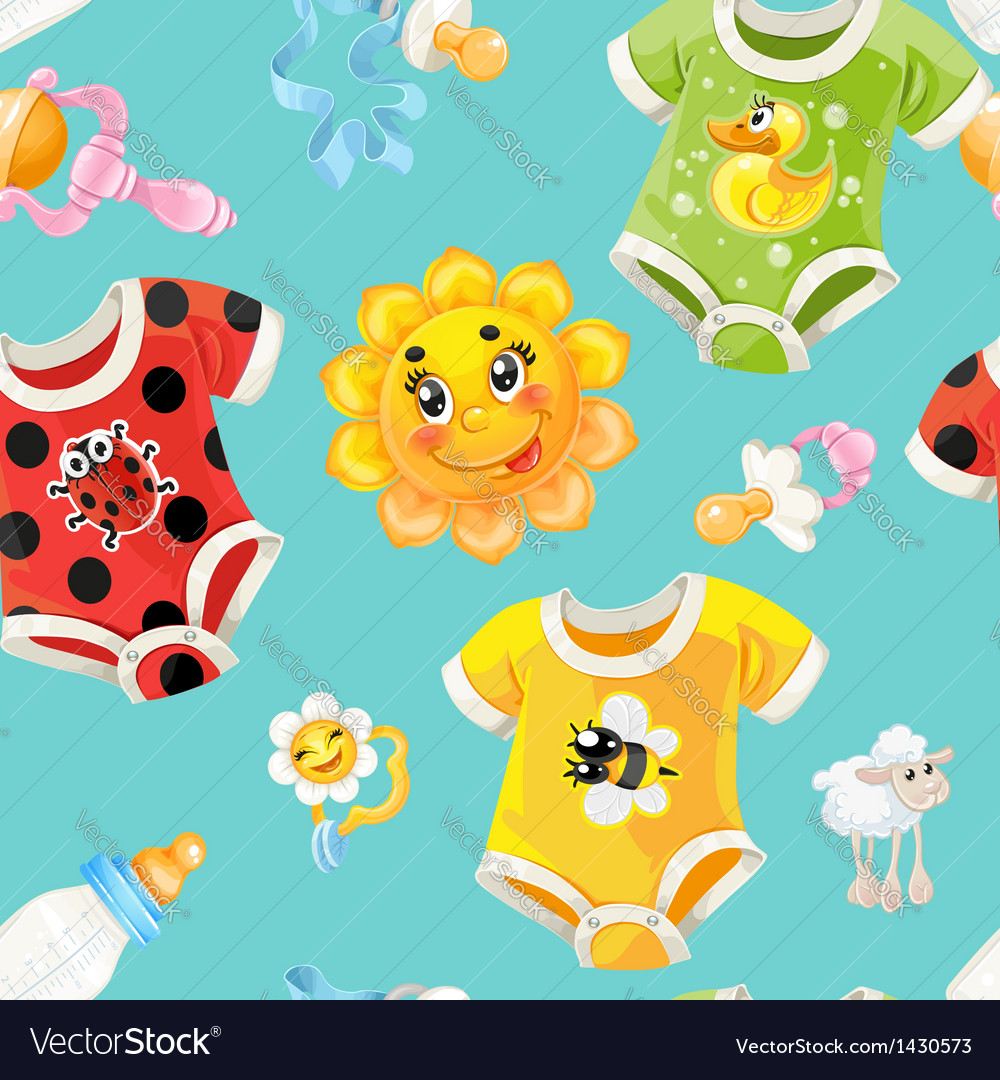 Seamless background of children clothes and toys vector
