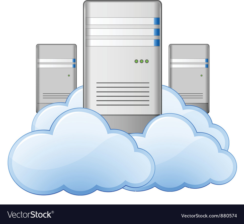 Servers and clouds vector