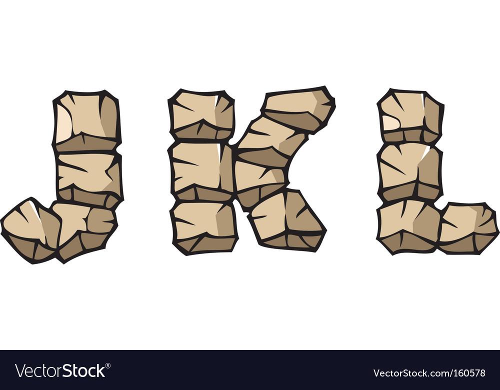 Stone alphabet jkl vector