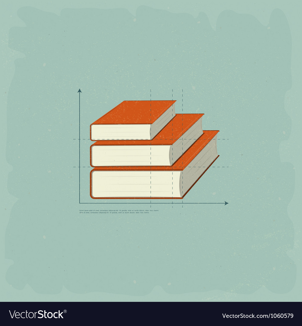 Vintage infographics books vector