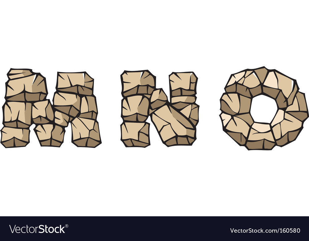 Stone alphabet mno vector