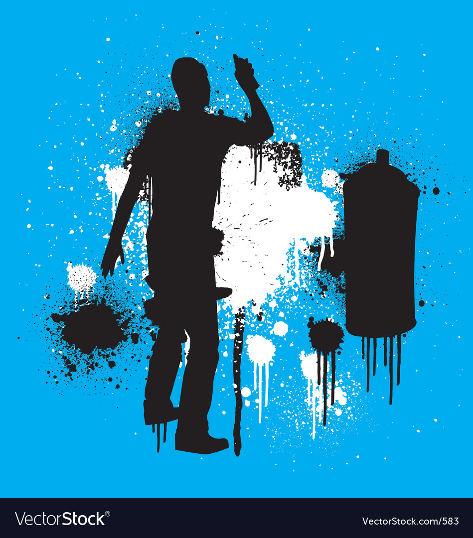 Free spray guy stenciled vector