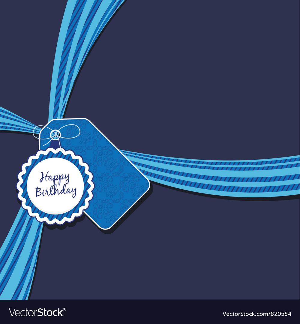 Blue birthday ribbon vector