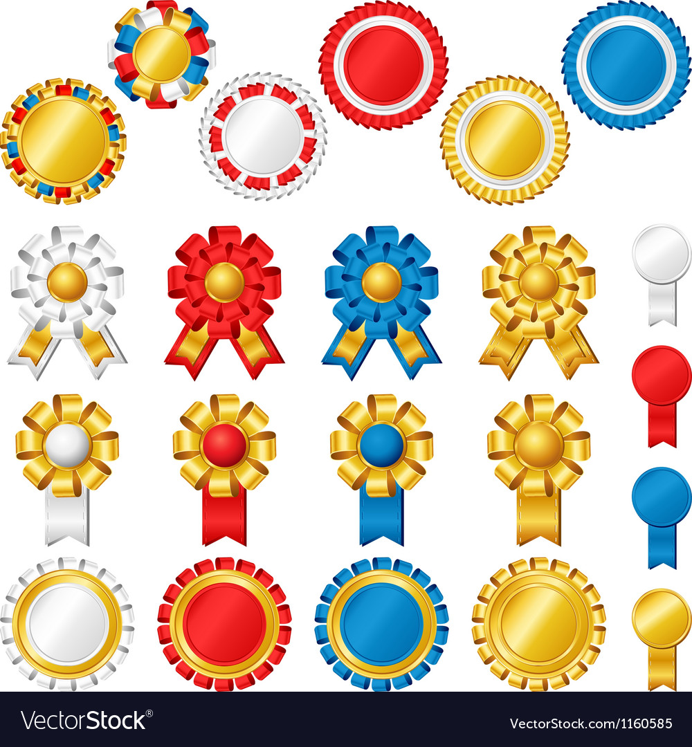 Blank award ribbon rosettes vector