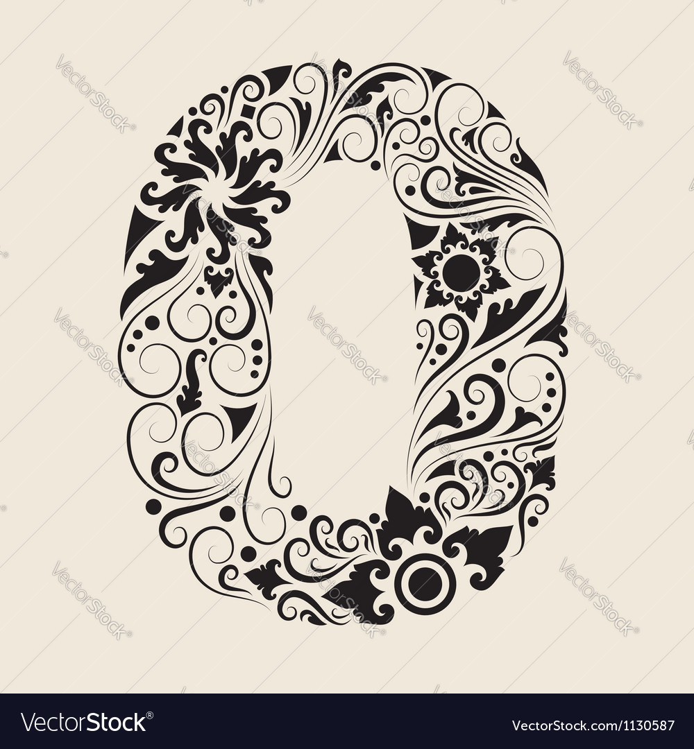 Number 0 floral decorative ornament vector