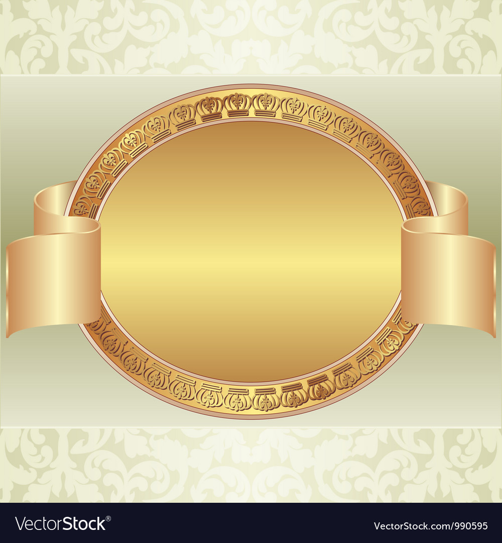 Gold oval frame vector