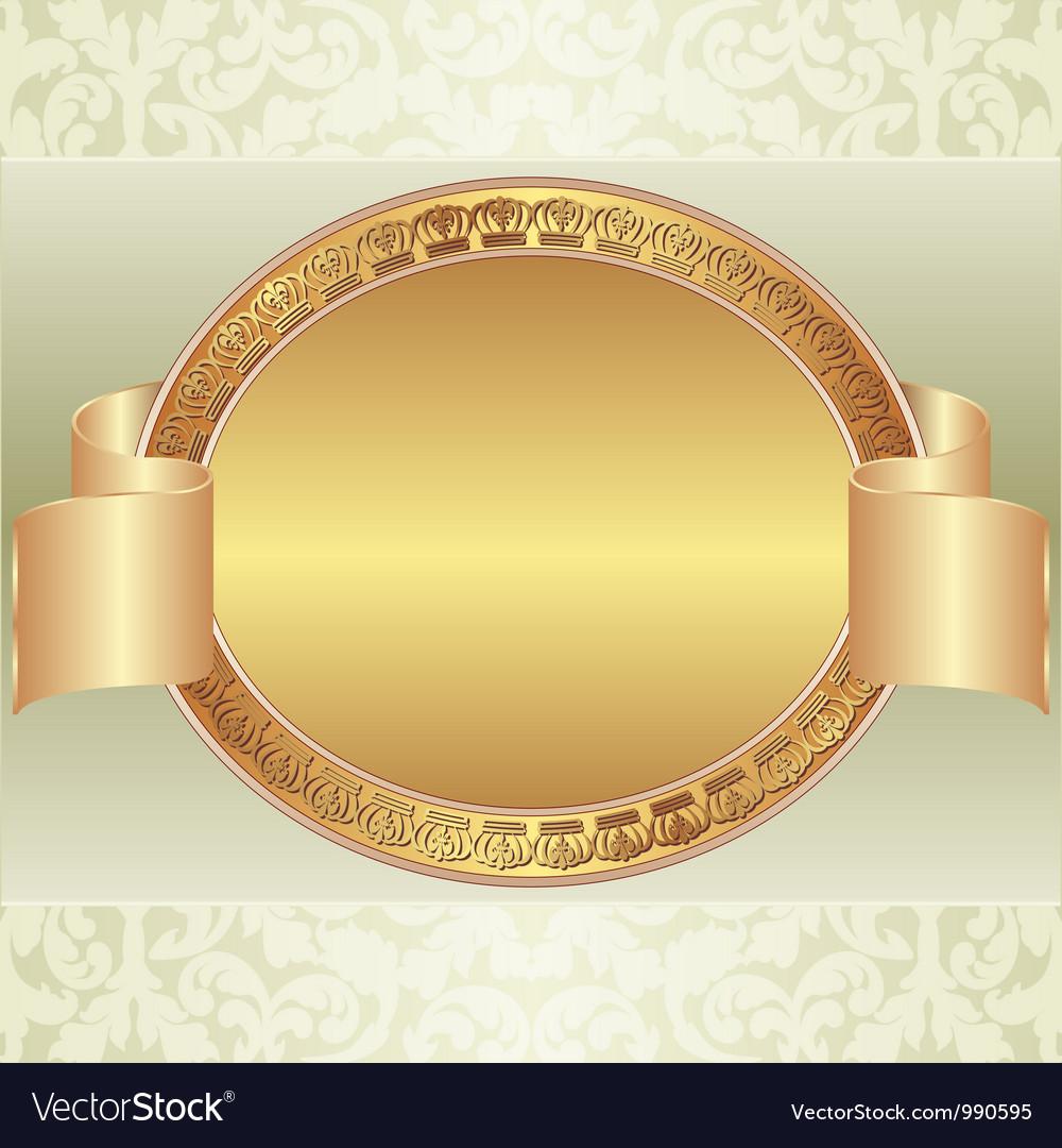 Gold oval frame vector