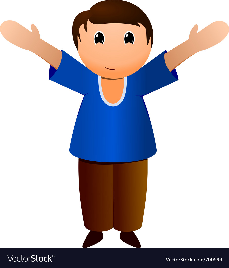Boy with open arms vector