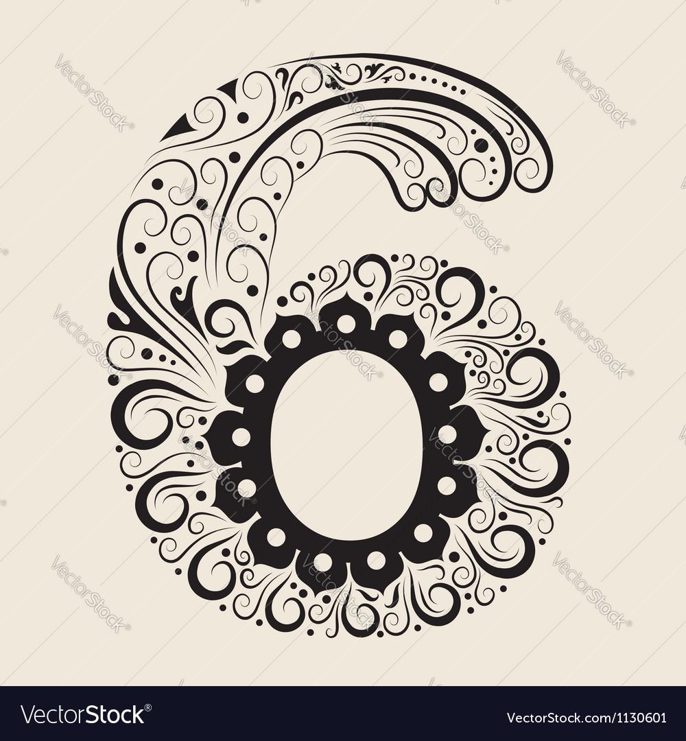 Number 6 floral decorative ornament vector