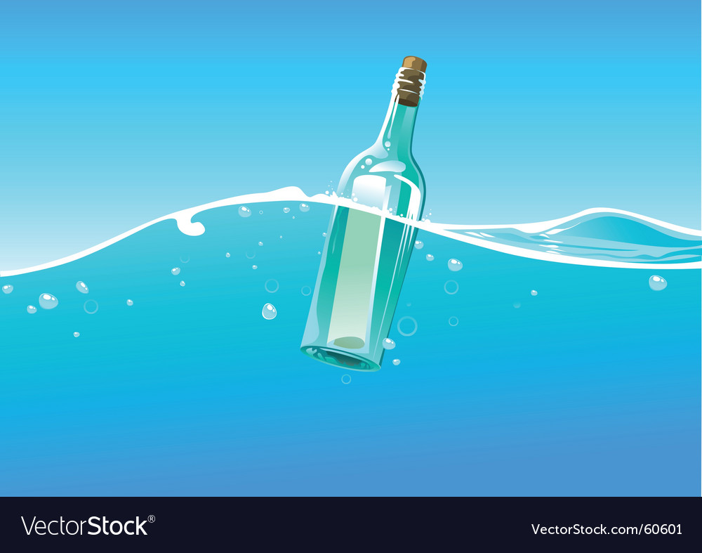 Water wave and bottle vector