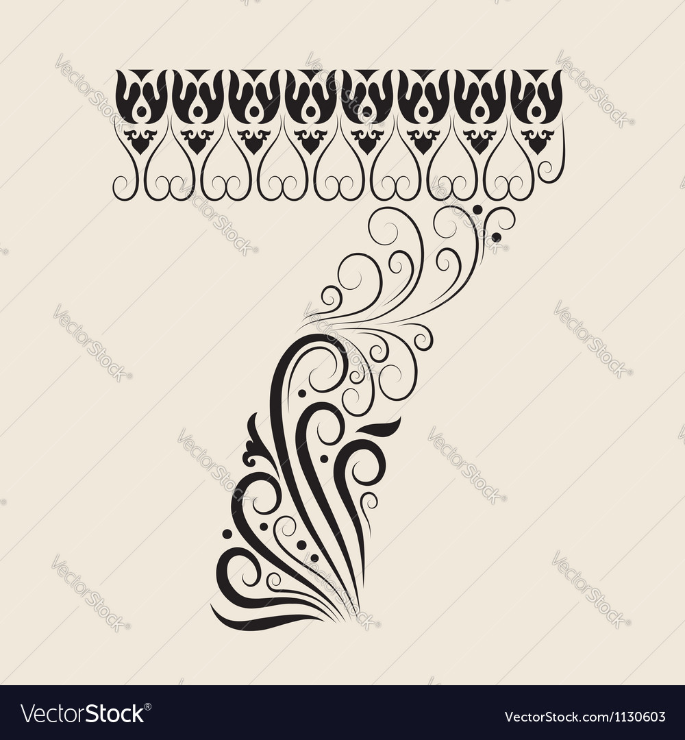 Number 7 floral decorative ornament vector