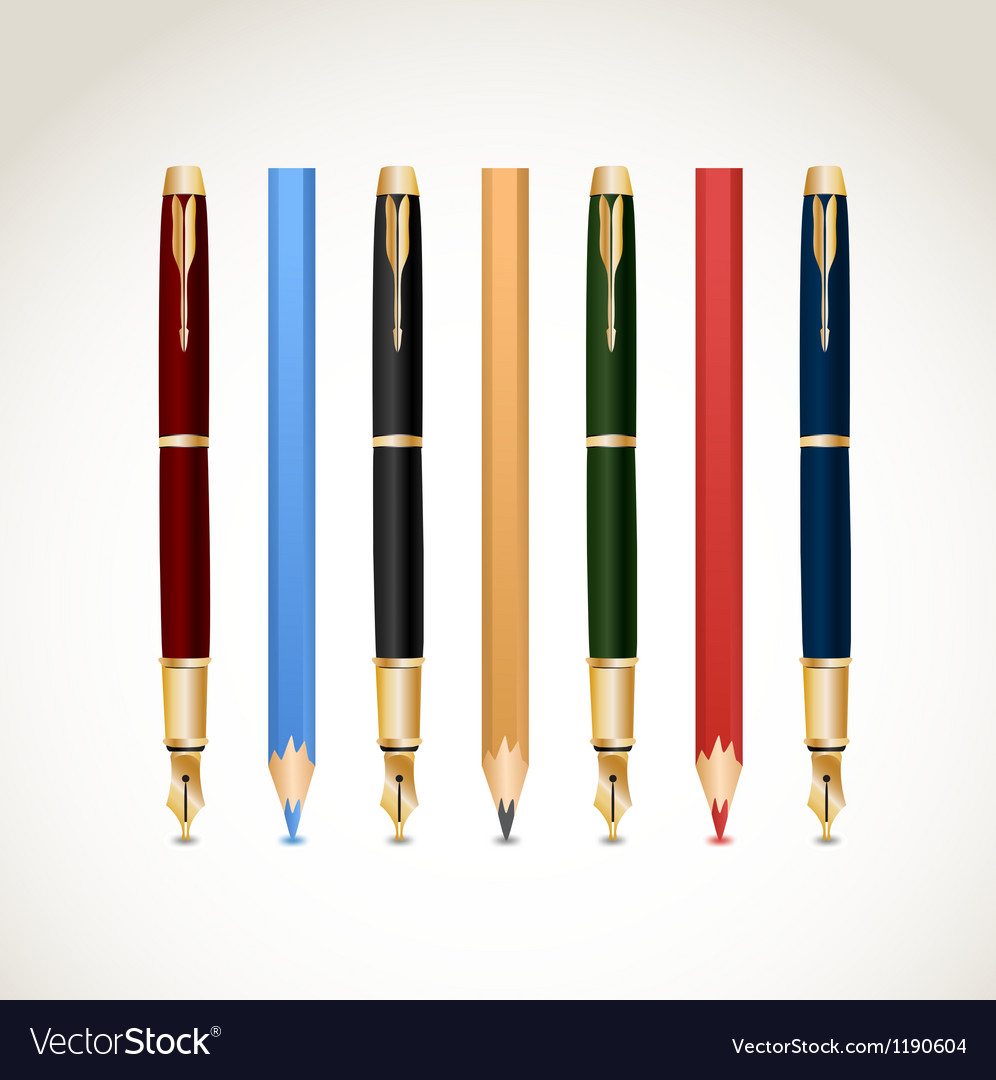 Set pens and pencils vector