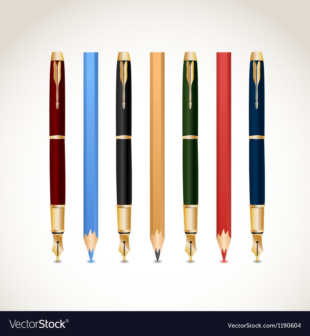 Set pens and pencils vector