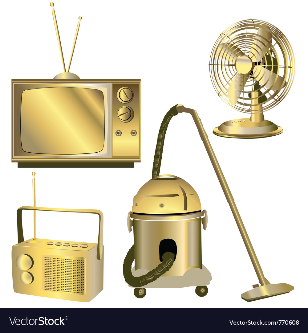 Retro electric objects vector