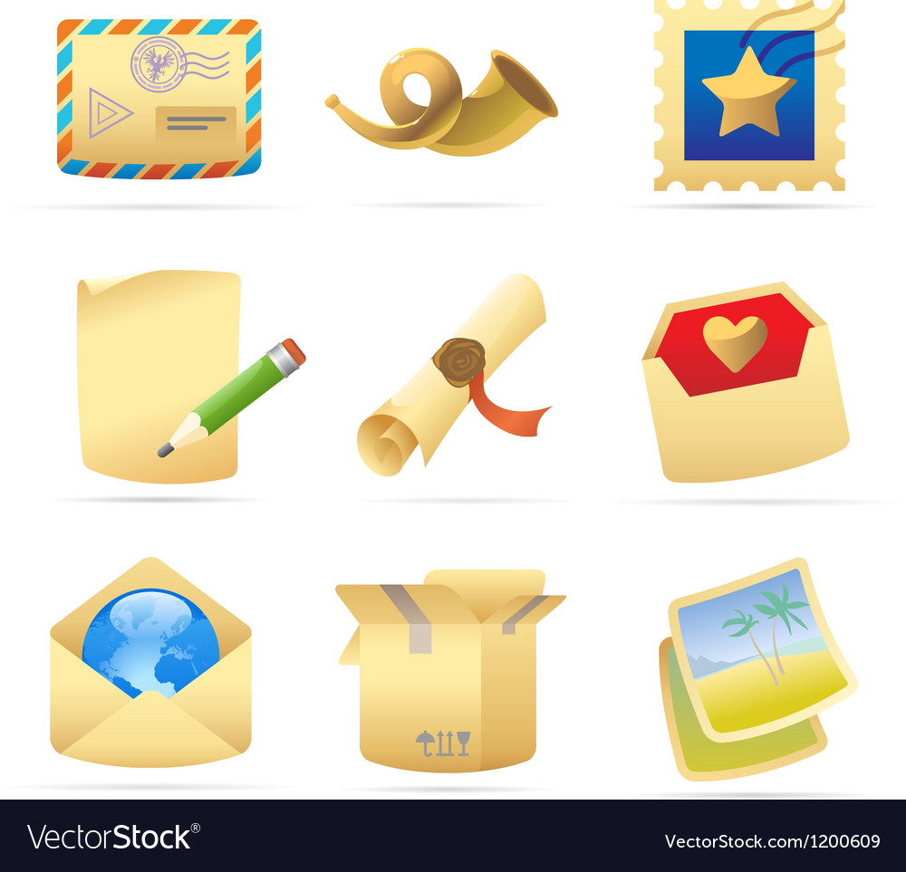 Icons for postal services vector