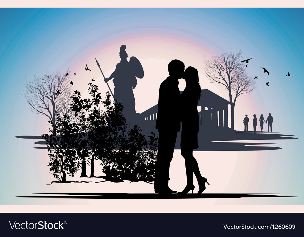 Kissing couple in greece vector