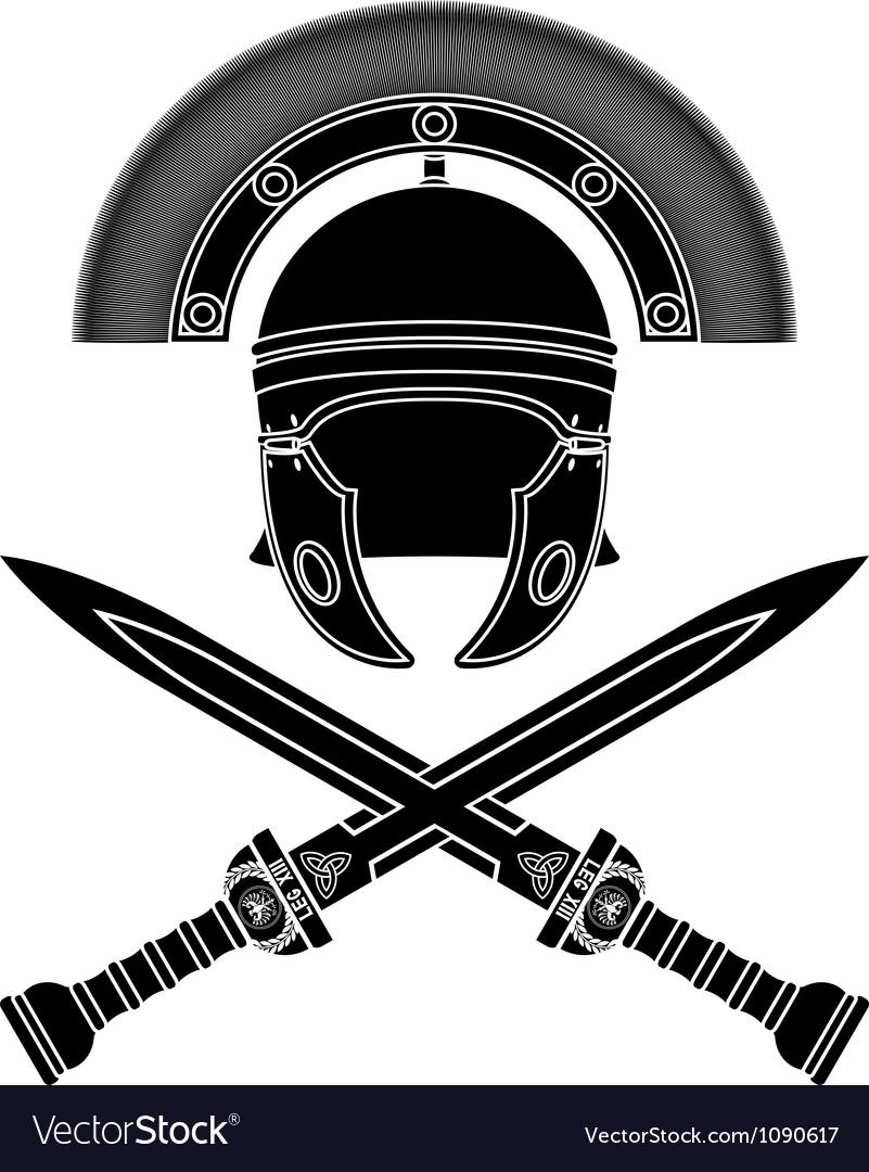 Roman helmet and swords third variant vector