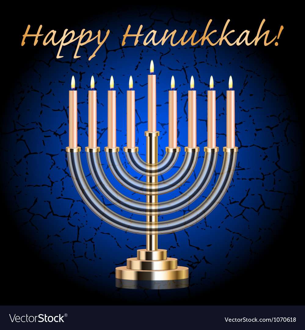 Happy hanukkah blue wish card vector
