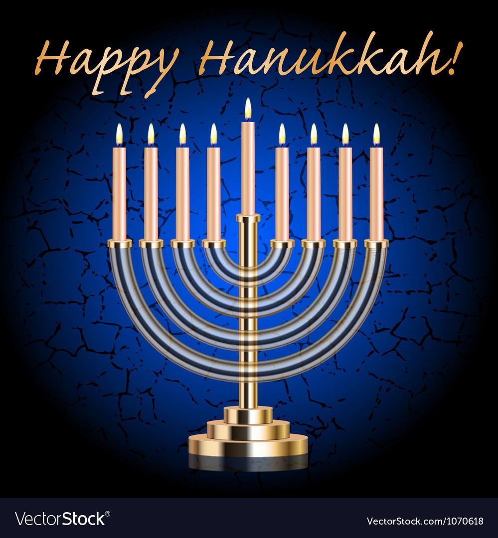 Happy hanukkah blue wish card vector