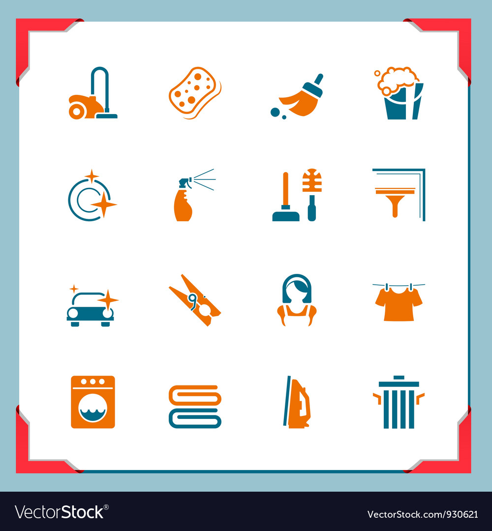 Cleaning icons in a frame series vector