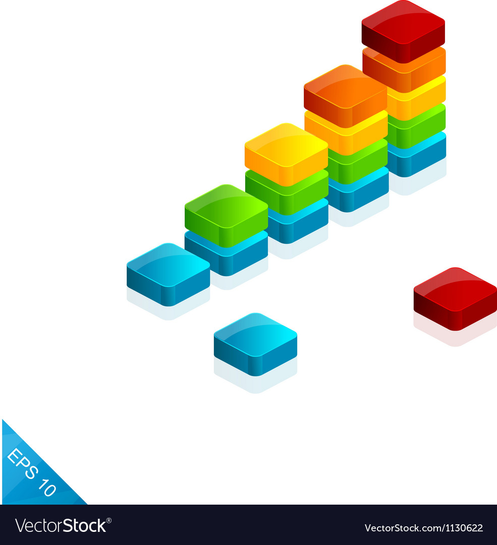 3d graph icon vector