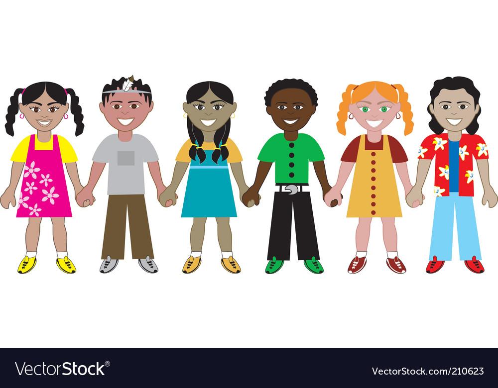 Kids hold hands vector