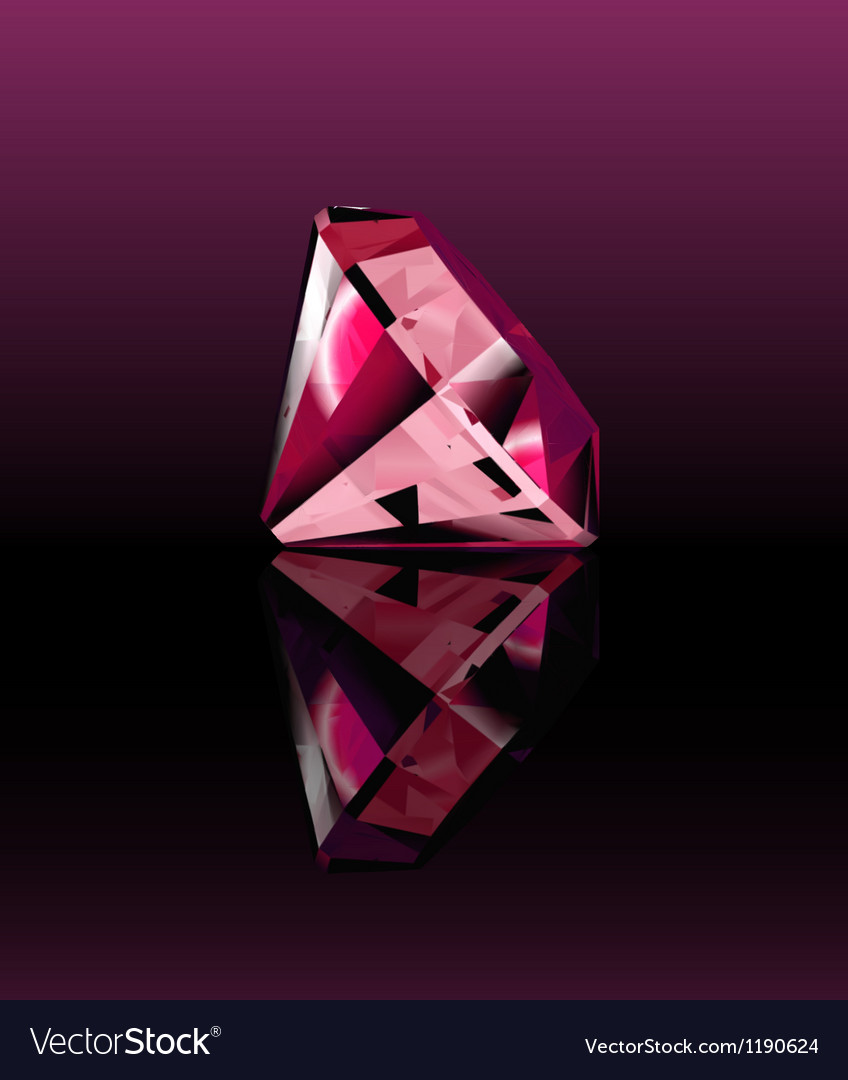 Pink diamond with reflection vector