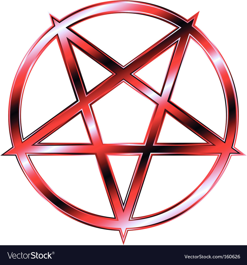 Red pentagram vector
