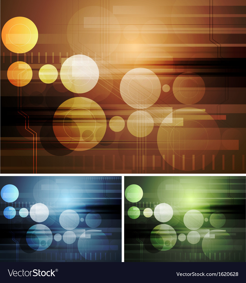 Bright abstract hi-tech backdrops vector