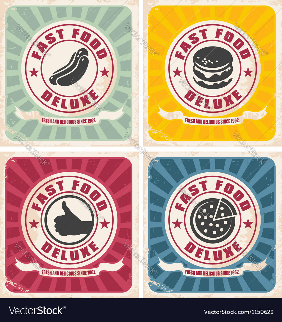 Vintage food posters collection vector