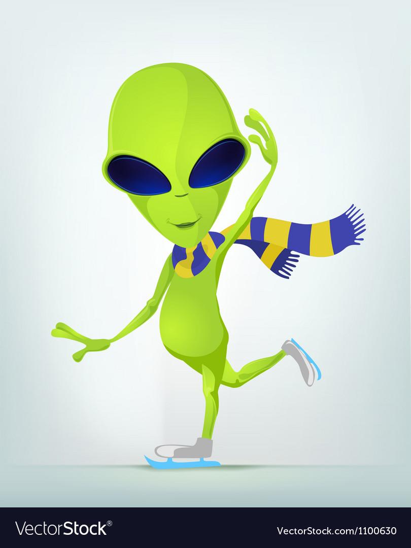 Cartoon alien ice skating vector