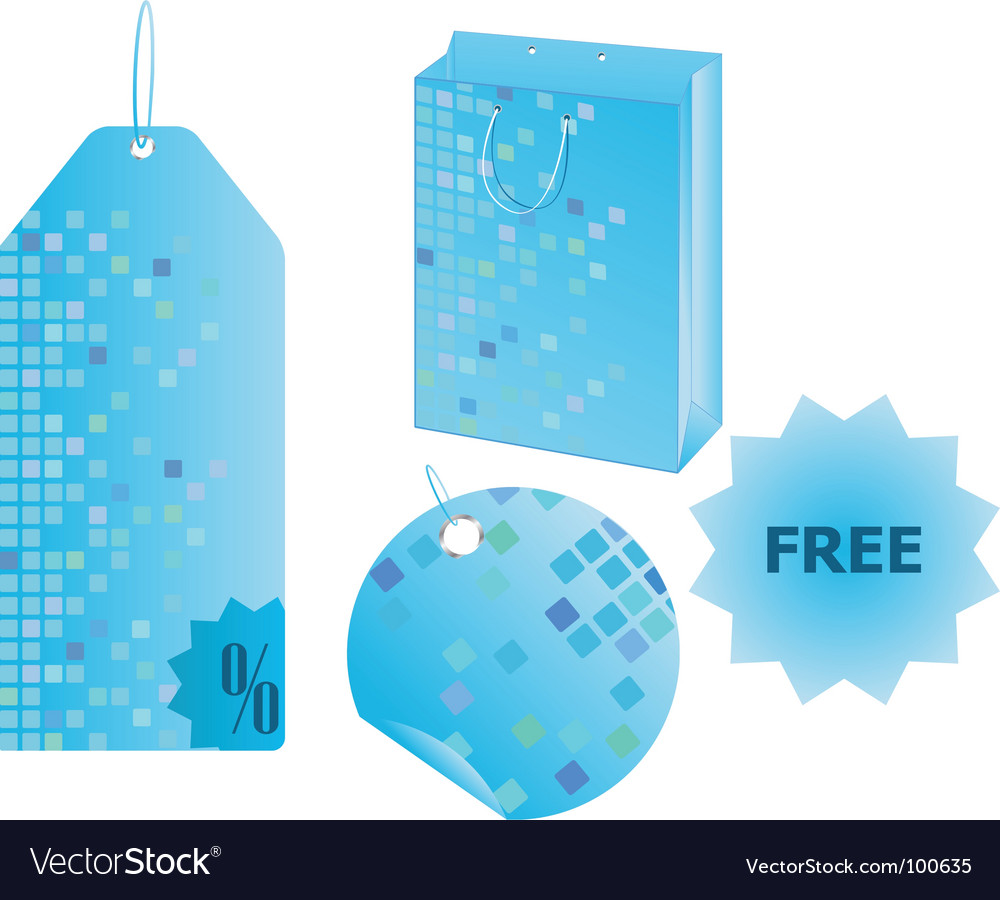 Free shopping objects with mosaic design vector