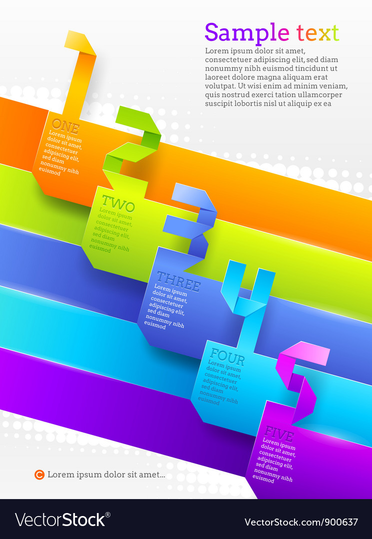 Graphic template with numbered banners vector