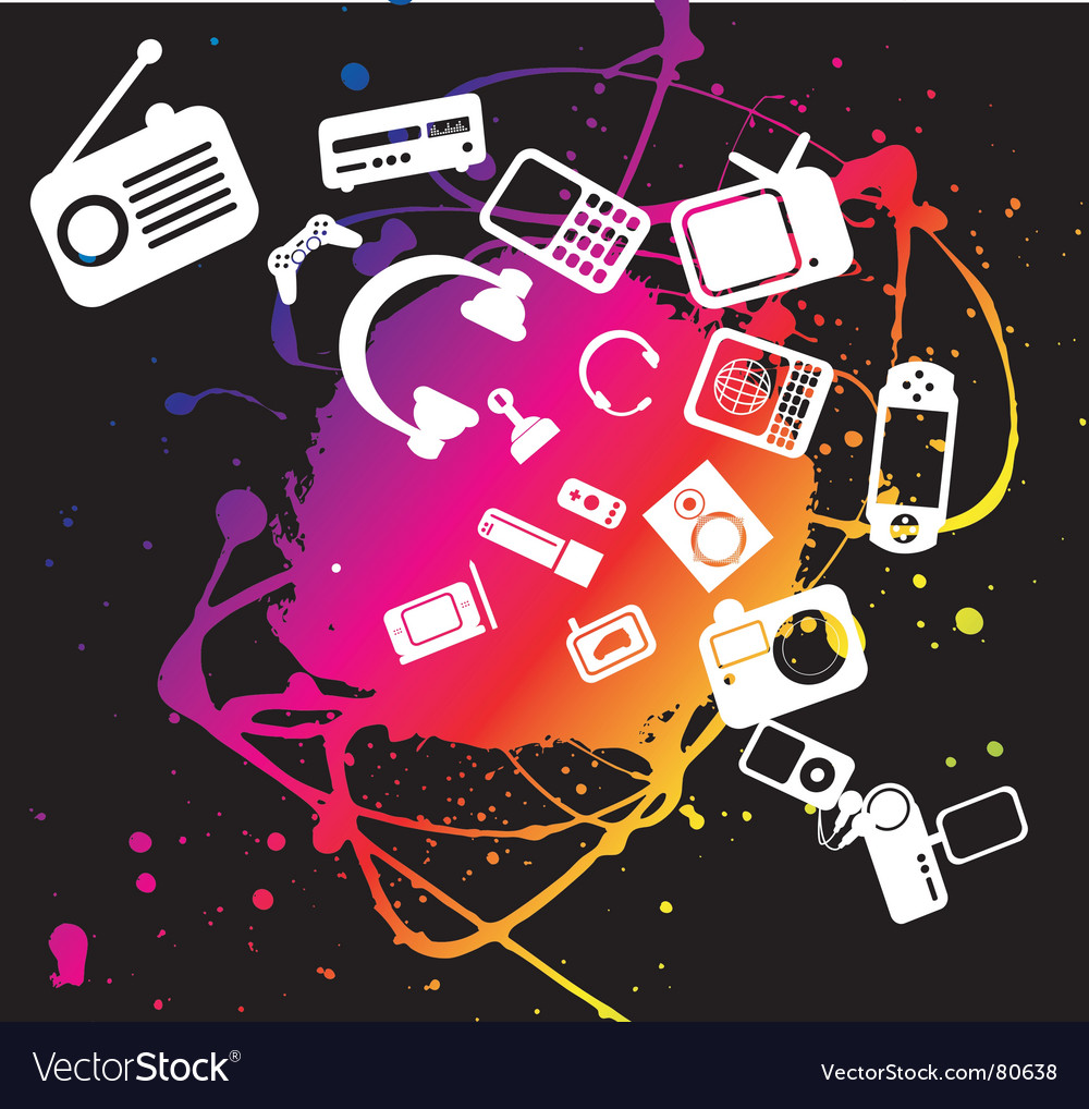 Electronic gadgets grunge splat vector