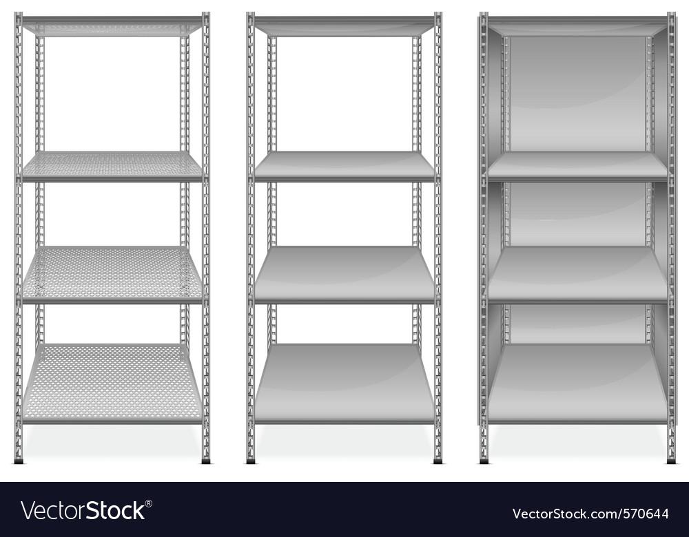 Empty bookshelves vector