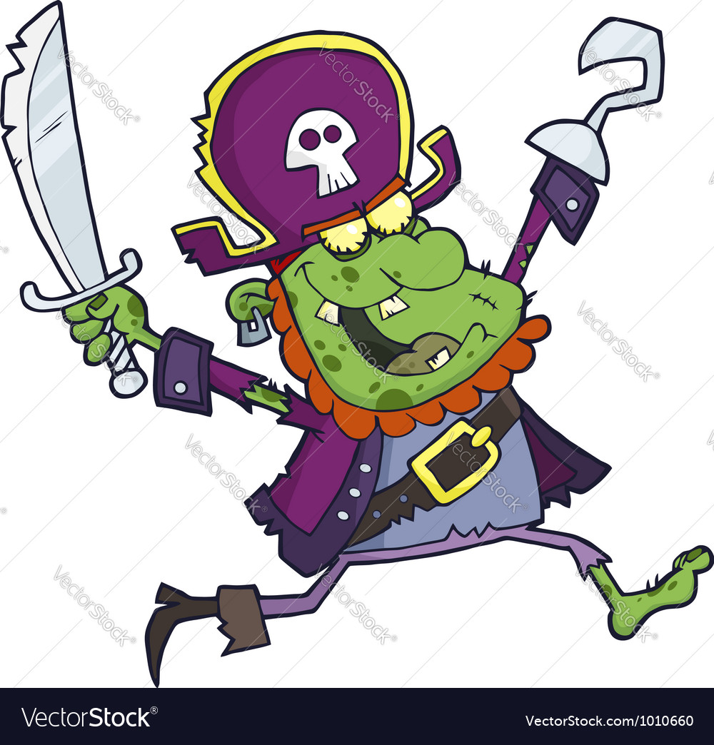 Cartoon pirate zombie with a cutlas vector