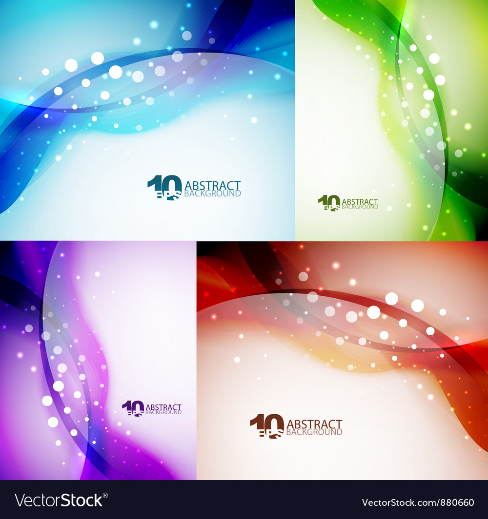 Wave backgrounds set vector