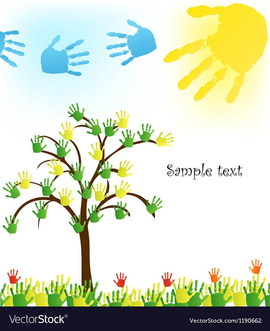 Abstract hand tree background vector