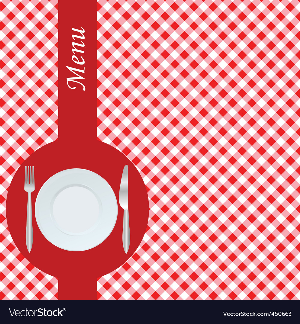 Menu with red table cloth vector