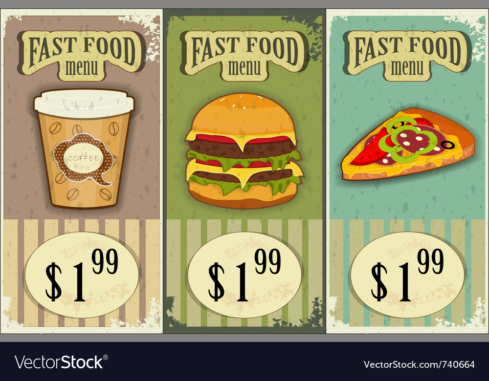Vintage fast food labels vector