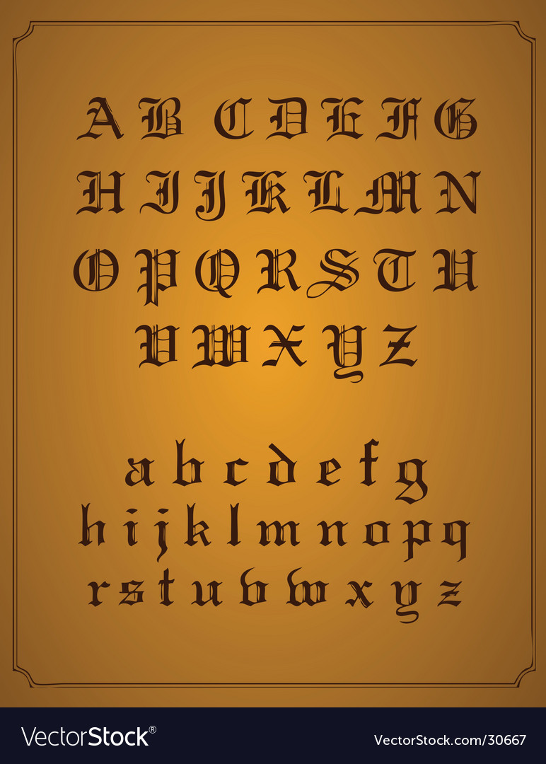 Old english typeset vector