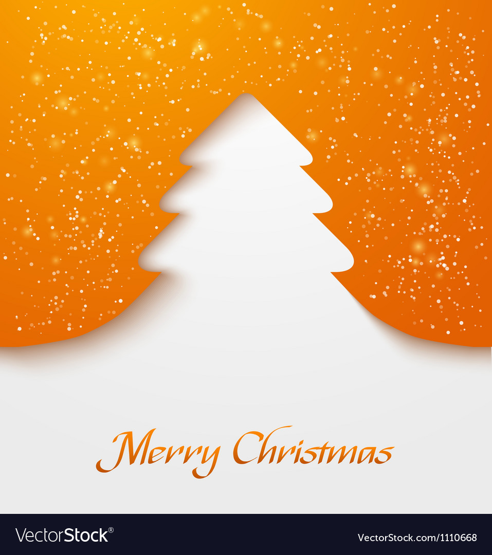 Orange christmas tree applique vector