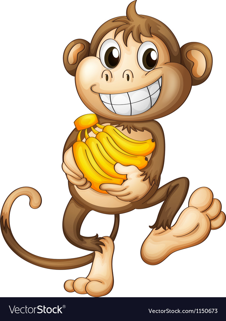 A happy monkey with bananas vector