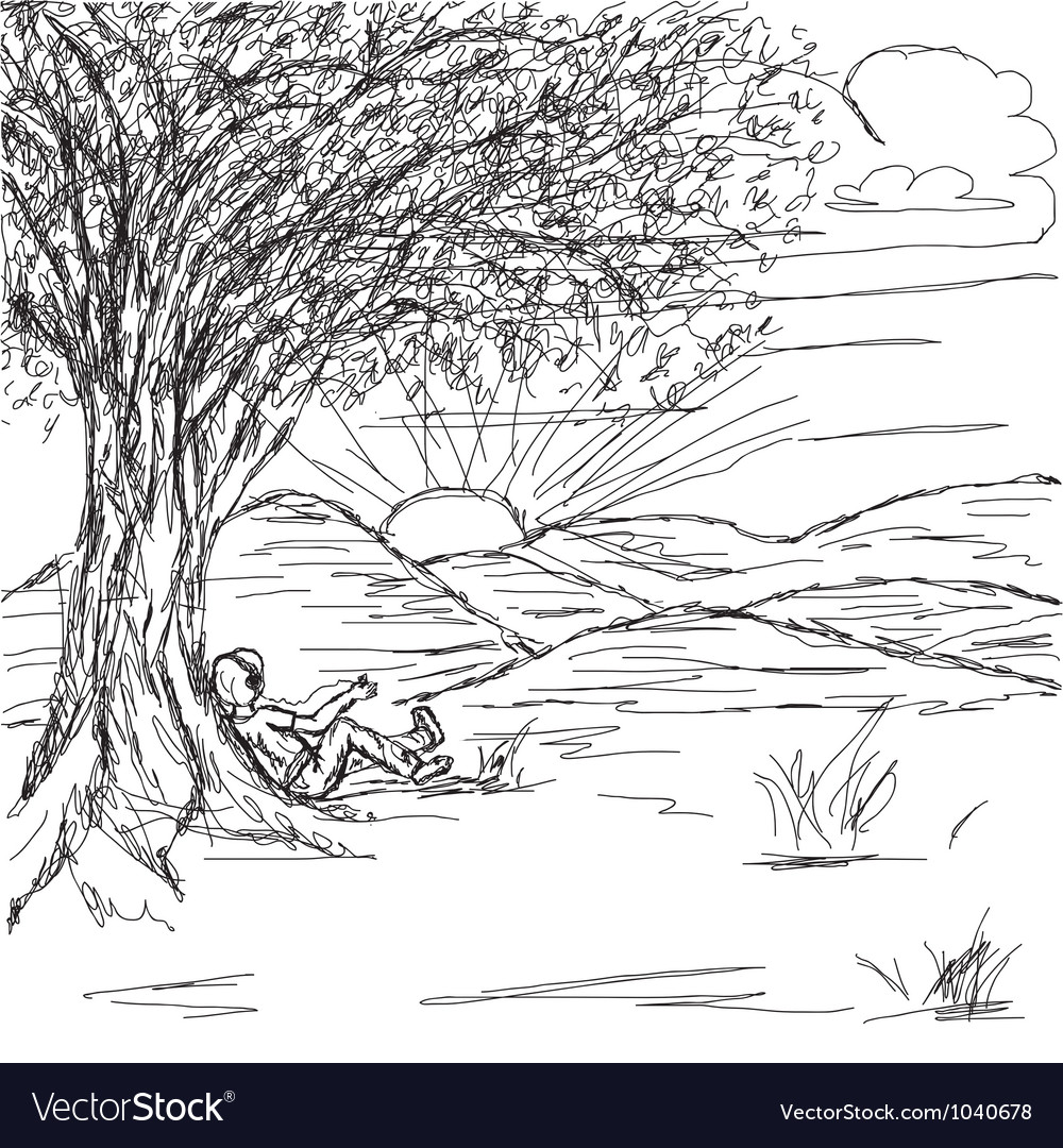 Hand drawn of landscape with man resting under the vector