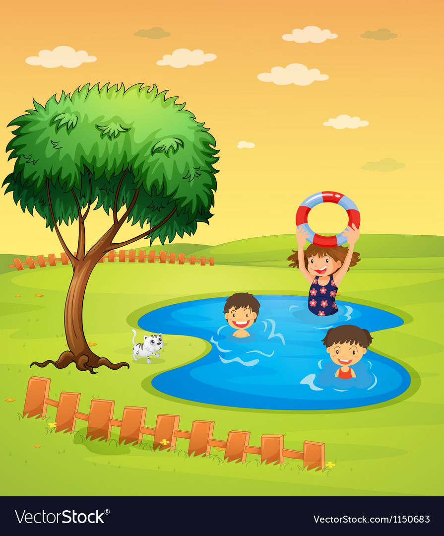 Kids enjoying in the pool vector
