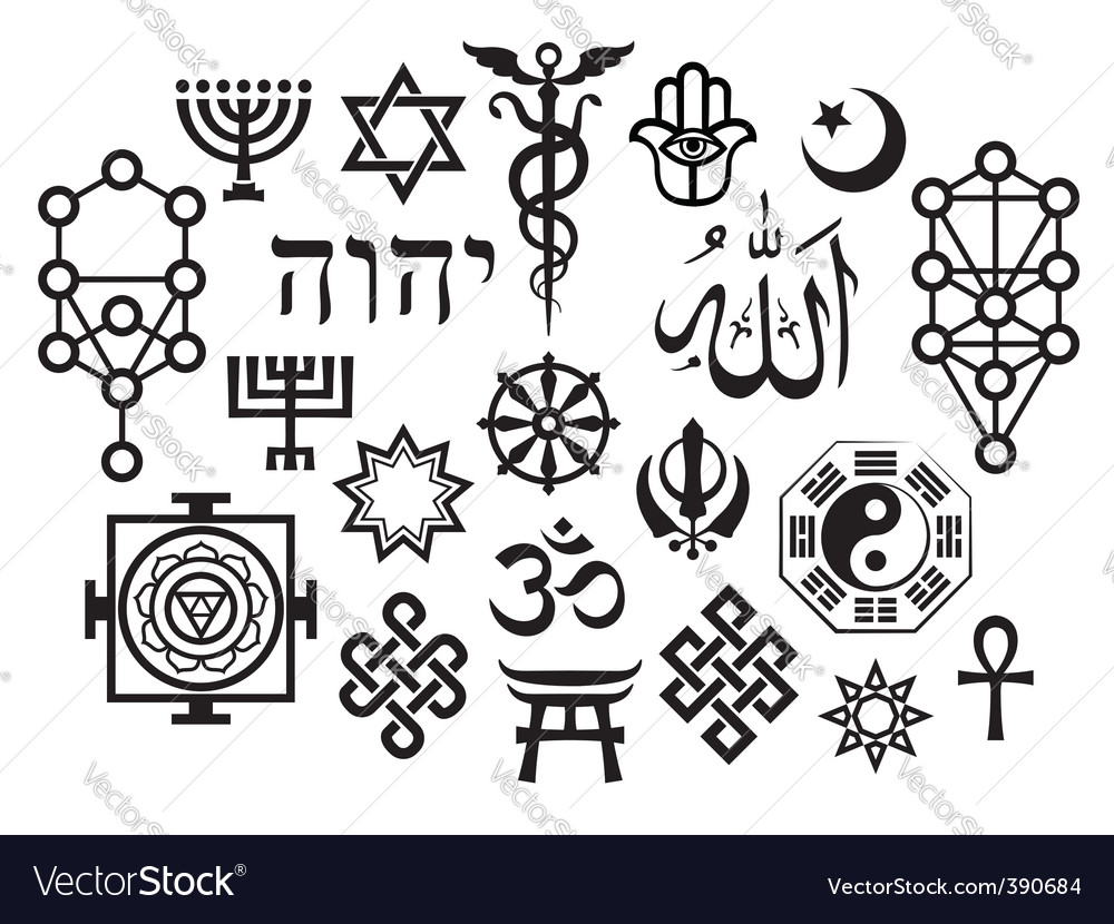 Oriental religious symbols vector