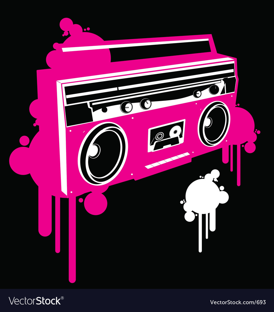 Free ghetto blaster pop graf version vector